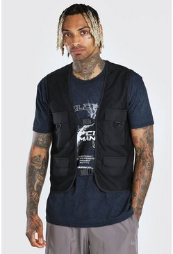 Black Multi Pocket Mesh Utility Vest With Colour Block