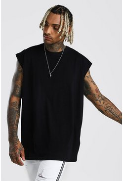 Black Oversized Longline Sleeveless Tee
