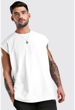 White Oversized Longline Sleeveless Tee