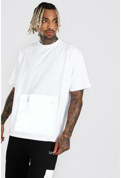 White Oversized MAN Branded Reflective Pocket T-Shirt