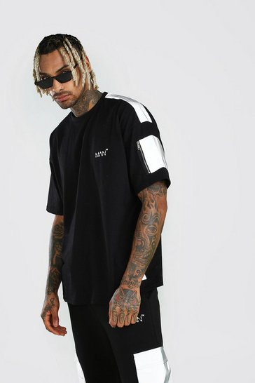 Black Oversized MAN Branded Reflective Arm Pocket T-Shirt