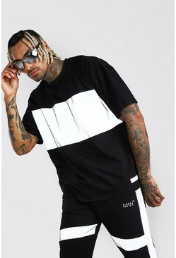 Black Oversized MAN Branded Reflective Panel T-Shirt