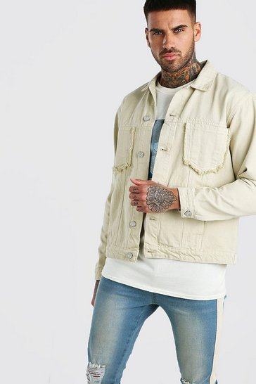 Sand Denim Jacket With Distressed Pocket Detail