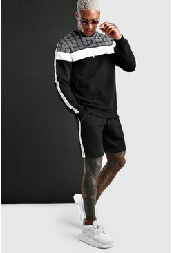 Black Jacquard Colour Block Short MAN Tape Tracksuit