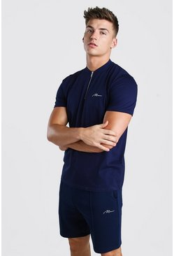Navy MAN Signature Zip Polo And Short Set