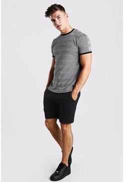 Grey MAN Signature Rib Jacquard T-Shirt And Short Set