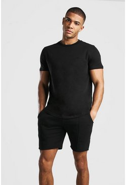 Black MAN Signature T-Shirt And Pintuck Short