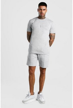 Grey MAN Signature T-Shirt And Pintuck Short