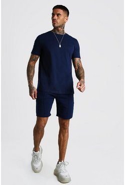 Navy MAN Signature T-Shirt And Pintuck Short