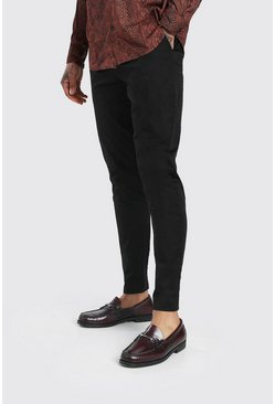 Black Skinny Fit Pleat Front Chino Trousers