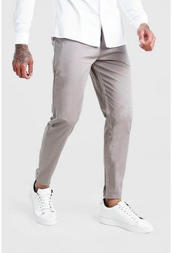 Grey Skinny Fit Pleat Front Chino Trousers