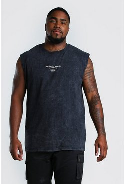 Black Big And Tall Official MAN Acid Wash Tank