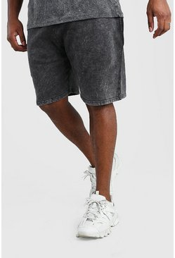 Black Big And Tall Acid Wash Jersey Short
