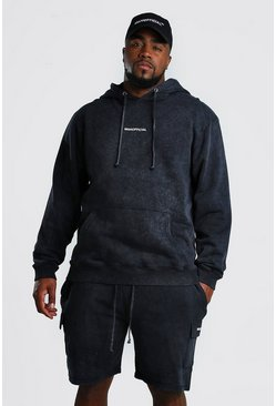 Black Big And Tall Cargo Short Hooded Tracksuit