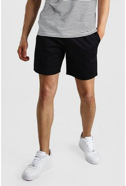 Black Elastic Waistband Slim Fit Mid Length Chino Short