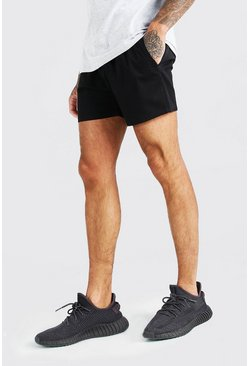 Black Elastic Waistband Short Length Chino Short