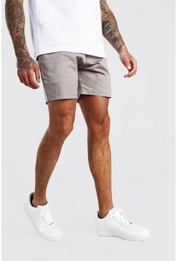 Slim-Fit Chino-Shorts, Grau
