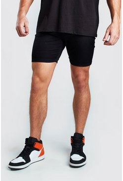 Black Super Skinny Chino Short
