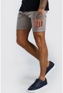 Super Skinny Chino-Shorts, Grau