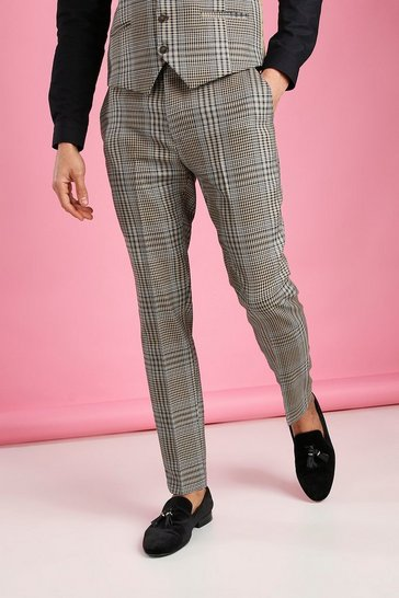 Taupe Skinny Dogtooth Check Trouser