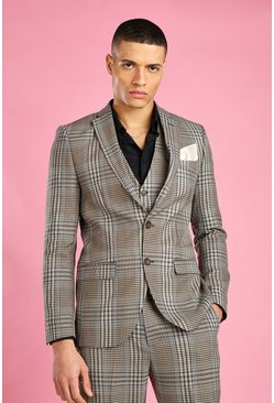 Taupe Skinny Fit Dogtooth Check Blazer