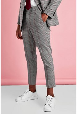 Black Skinny Cropped Dogtooth Check Trouser