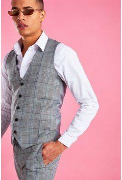 Grey Skinny Prince Of Wales Check Vest