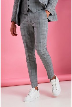 Grey Super Skinny Prince Of Wales Check Trouser