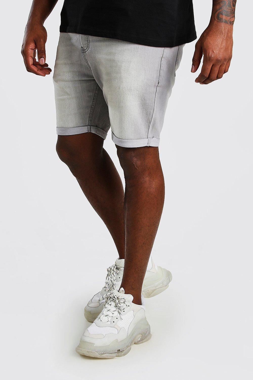 mens plus size skinny fit jean shorts - grey