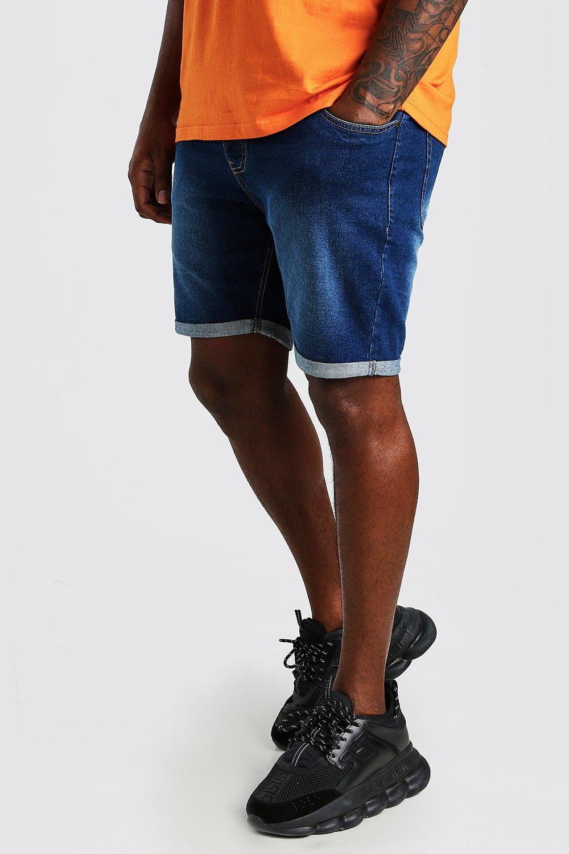 mens plus size skinny fit jean shorts - blue