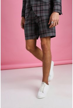 Black Skinny Contrast Check Shorts