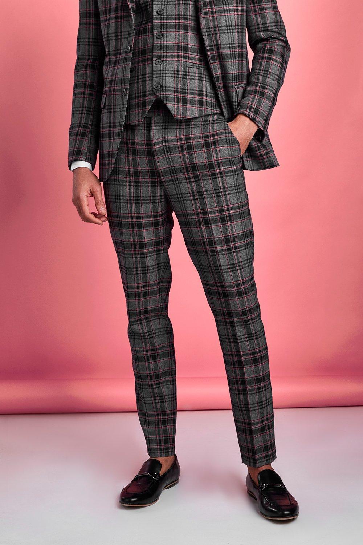 1960s Men's Fashion, 60s Fashion for Men Mens Skinny Tartan Flannel Suit Pants - Black $22.50 AT vintagedancer.com