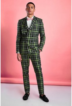 Green Skinny Bright Tartan Check Trouser