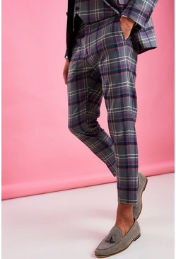 Grey Skinny Purple Check Trouser