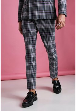 Charcoal Skinny Gingham Check Trouser