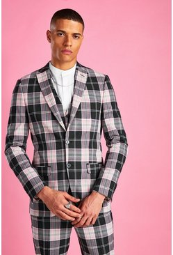 Wine Super Skinny Tartan Check Blazer