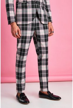 Black Super Skinny Tartan Check Trouser