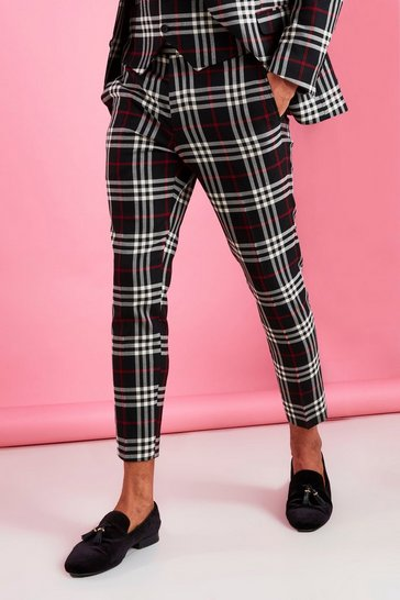 Black Skinny Cropped Smart Contrast Check Trouser