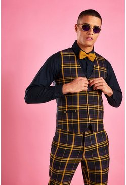 Black Skinny Check Vest