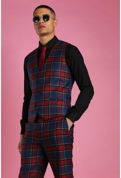Black Skinny Fit Tartan Check Suit Vest