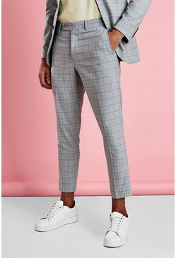 Grey Skinny Mini Grid Check Trouser