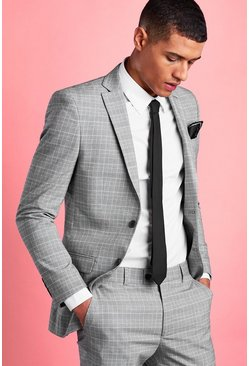 Grey Super Skinny Mini Dogtooth Check Blazer
