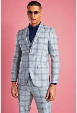 Light grey Skinny Prince Of Wales Check Blazer