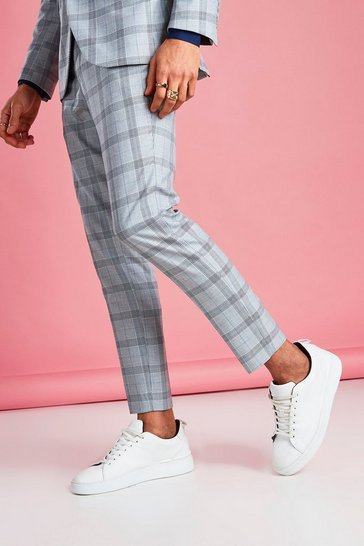 Light grey Skinny Prince Of Wales Check Trouser