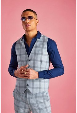Light grey Skinny Prince Of Wales Check Vest