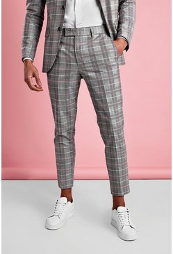 Grey Skinny Prince Of Wales Check Trousers