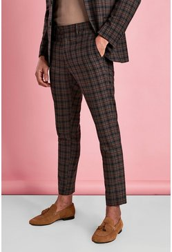 Brown Skinny Mini Check Pants