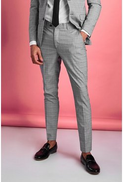 Grey Super Skinny Mini Dogtooth Trouser