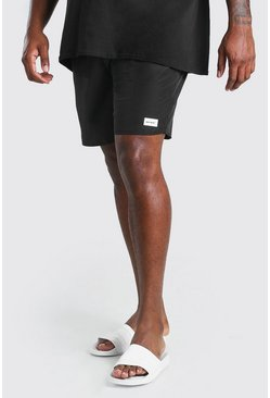 Black Big And Tall Double Waist Swim Short