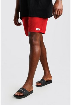 Big And Tall Mittellange Badeshorts mit doppeltem Bund, Rot